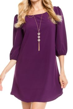 Round Neck Solid Dress