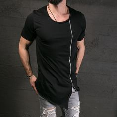 Mens Long Extended Hip Hop T-Shirt Side Zipper Streetwear Blouse Tops Basic Tee Hipster Shirts, Hipster Outfits, T Shirts, Hipster Tops, Grunge Look, Style Grunge, 90s Grunge, New Mens Fashion, Men Fashion Show