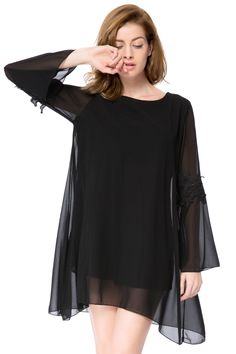 Simple Round Collar Long Sleeve Solid Color Asymmetrical Women's Dress