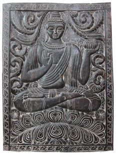 Indian Wall Panel Holding Alms Bowl Buddha Carved Door Wood Carved Door