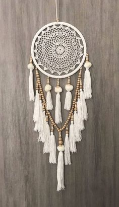 White Dreamcatcher, Crochet Dreamcatcher, Beaded Dream Catcher, Doily Dream Catcher, Wooden Bead Dreamcatcher- cm Boho Crochet Web Dream Catcher blanc/crème Pom Poms glands & perles en bois Source by christelerogez - Dream Catcher White, Large Dream Catcher, Dream Catcher Boho, Dream Catcher Decor, Dream Catcher Bedroom, Dream Catcher Mobile, Dreamcatcher Crochet, White Dreamcatcher, Dreamcatchers Diy