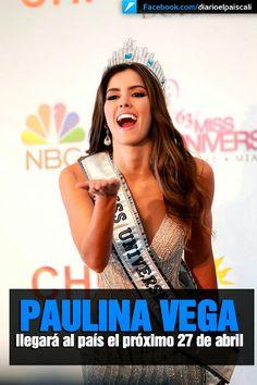 La Miss Universo Paulina Vega llegará a Colombia el próximo 27 de abril y cumplirá una agenda completa de compromisos, entre los que se destacan visitas a fundaciones de orden social y benéfico, encuentros con medios, confirmó Jolie de Vogue.