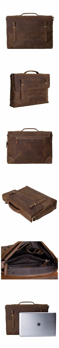 ROCKCOW Men's Genuine Vintage Brown Leather Messenger Bag Shoulder Laptop Bag Briefcase