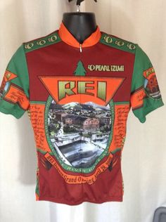 Pearlizumi Large REI Grand Opening Flagship Cycling Jersey Vtg USA Green Red in Sporting Goods, Cycling, Cycling Clothing | eBay