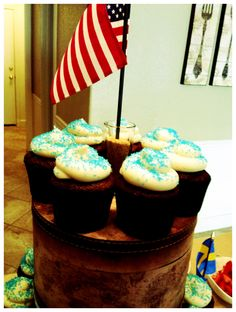 Chocolate cupcakes with brown sugar cream cheese frosting.  Brown Sugar Cream Cheese Frosting 8 ounces cream cheese - room temp 2 sticks butter - room temp 1 tsp. vanilla 1/4 cup brown sugar 5-6 cups powdered sugar Blend together cream cheese and butter. Add vanilla and brown sugar. Mix well. Add powdered sugar and slowly blend to desired firmness. Enjoy!