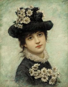 """⊰ Posing with Posies ⊱ paintings of women and flowers - """"Young Beauty"""" by Emile Eisman-Semenowsky"""
