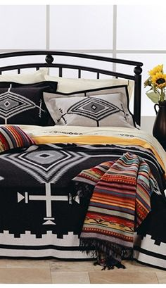 Come to Lone Star Western Decor now and peruse our inventory of Western bedding, which includes this Queen Size Los Ojos Blanket! Southwest Decor, Southwestern Decorating, Southwestern Bedding, Southwestern Style, Rustic Bedding, Bed Sets, Bed Throws, My New Room, Home Collections