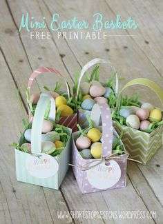Easter goodies for my coworkers gift giving pinterest mini easter baskets free printables perfect for easter dinner party favor or an negle Choice Image