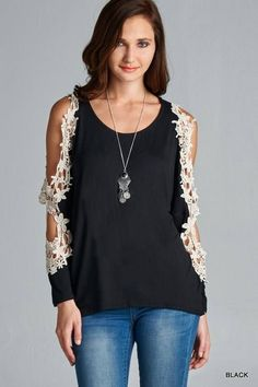 Look great with our open lace detail long sleeve top