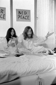 John and Yoko at their Amsterdam Bed-In, 1969