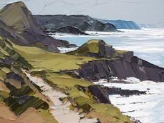 Wild Coast by Matthew Snowden Watercolor Landscape, Landscape Art, Landscape Paintings, Palette Knife Painting, Seascape Paintings, Oil Paintings, Art Oil, Painting Inspiration, Art Drawings