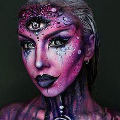 Makeup ideas Halloween – Great Make Up Ideas Sfx Makeup, Cosplay Makeup, Costume Makeup, Makeup Art, Makeup Ideas, Dark Makeup, Beauty Makeup, Alien Make-up, Alien Girl