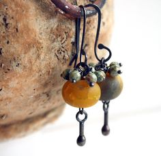Yellow Grey Earrings  Golden Earrings  Fire Agates  by HarrysGirls