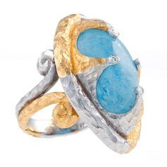 Pamela Froman | Mocha Moonstone & Diamonds with 18k Yellow and White Crushed Gold | Max's