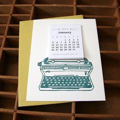letterpress mini typewriter calendar 2014 por blackbirdletterpress, $6,00