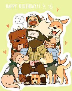 Kakashi and his dogs <3