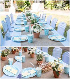 Peter Rabbit Garden 1st Birthday Party tables via Kara's Party Ideas | karaspartyideas.com