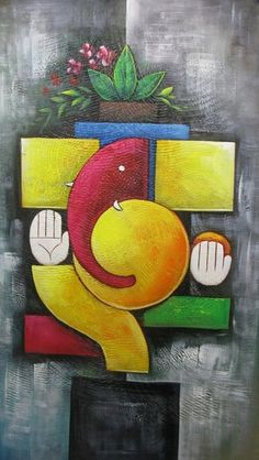 Buy canvas art painting online for sale by fizdi.com in India. Abstract Ganesh - 15in X 26in,RAJMER55_1526,Acrylic Colors,God,Ganesha,Ganapati,Bappa,Moraya,Deva - Buy Paintings online in India Ganesha Drawing, Lord Ganesha Paintings, Ganesha Art, Krishna Painting, Madhubani Painting, Ganesha Rangoli, Indian Art Paintings, Modern Art Paintings, Rangoli Simple
