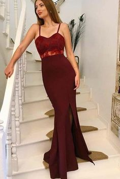 658dc611d16 Burgundy Mermaid Off the Shoulder Ruched Prom Dress with Front Slit ...