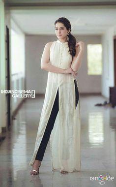 Telugu Model Rashi Khanna Photo Shoot In White Sleeveless Dress - Tollywood Stars Dress Indian Style, Indian Fashion Dresses, Indian Designer Outfits, Indian Outfits, Designer Dresses, Designer Kurtis, Indian Wear, Simple Kurti Designs, Kurta Designs Women