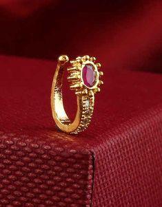 Nose Ring Jewelry, Cuff Jewelry, Nose Rings, Gold Earrings Designs, Gold Jewellery Design, Nose Ring Designs, Amrapali Jewellery, Diamond Nose Ring, American Diamond Jewellery