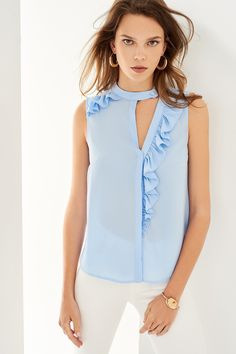 Asymmetrical ruffled blouse