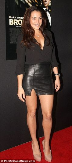 Natalie Martinez + Leather Skirt