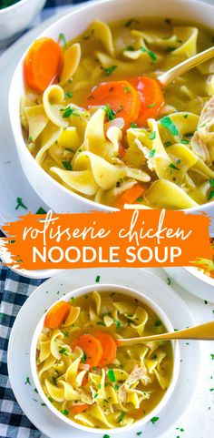 Rotisserie Chicken Noodle Soup recipe in just 30 minutes! Chicken Noodle Soup Rotisserie, Best Chicken Noodle Soup, Recipes Using Rotisserie Chicken, Chicken Soup Recipes, Lasagna Recipes, Cabbage Recipes, Shrimp Recipes, Chicken Curry, Pasta Recipes