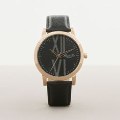 ROSE GOLDTONE WITH BLACK LEATHER STRAP WATCH, BLACK