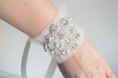 Bridal tulle cuffs, with crystal rhinestones a delicate beautiful cuff. https://www.etsy.com/shop/yanethandco?section_id=7164711&ref=shopsection_leftnav_9