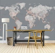 Silver World Map World Map Wallpaper, Travel Themes, My Room, Dining Bench, Entryway Tables, Living Room, Interior Design, Groot, Inspiration