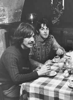 OTD: George Harrison and Paul McCartney, at Tunneln Restaurant, Malmö, Sweden, 14 October 1967.