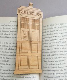 TARDIS Bookmark  Laser Engraved Alder Wood  by VectorEngraving