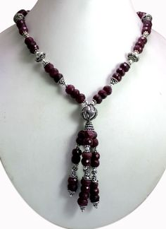 (SKU No. 602ct) 602ct Natural Blood Red Ruby Designer Beads Necklace Faceted with Silver Beads