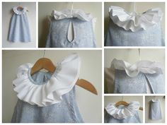 Liberty dress | Blue Capel with double ruffle collar