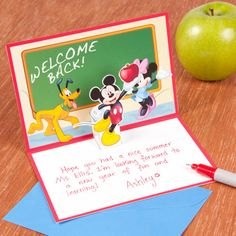 "Mickey's ""Welcome Back Teacher"" Pop-Up Card 