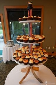What's better than cupcakes? Cupcakes on a hockey stick stand.
