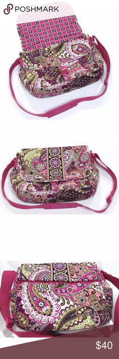 Price Drop 🎉 Vera Bradley Messenger Bag This Vera Bradley messenger bag comes in the retired pattern Very Berry Paisley that ran from 2010 to 2012. The bag features a zippered pocket on the back, multiple slip pockets, and an adjustable strap for cross-body carry.   Condition: I never have enough room in the description box to fully describe the product, so please refer to Photo 8 for additional details. The bag has a couple of flaws (explained in Photo 8) but is otherwise in absolutely…