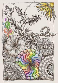 hélène em joozart: regenboog catch the Zentangle Drawings, Doodles Zentangles, Zentangle Patterns, Doodle Drawings, Tangle Doodle, Zen Doodle, Doodle Art, Zantangle Art, Zen Art