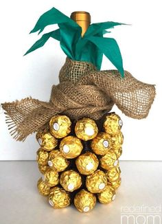 Pineapple Wine Bottle | Creative DIY Mother's Day Gifts Ideas | Thoughtful Homemade Gifts for Mom. Handmade Ideas from Daughter, Son, Kids, Teens | Unique, Easy, Cheap Do It Yourself Crafts To Make for Mothers Day, complete with tutorials and instructions