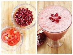 Sucul de rodii este unul din cele mai bune sucuri din fructe, deoarece are un indice glicemic mic, și nu ridică nivelul zahărului din sânge. Este plin de antioxidanți. Reduce tensiunea arterială, îmbunătățește sănătatea cardiovasculară, … Milkshake, Fruit Salad, Natural Remedies, Smoothies, Food And Drink, Health Fitness, Cooking Recipes, Pudding, Drinks