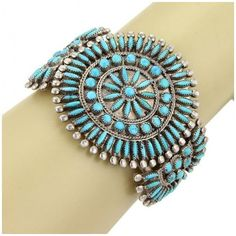 Pre-owned Najavo Zuni Native Indian Sterling & Turquoise Floral... ($595) ❤ liked on Polyvore featuring jewelry, bracelets, indian jewellery, bangle bracelet, hinged cuff bracelet, turquoise cuff bracelet and hinged bracelet