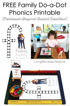 """This free family do-a-dot phonics printable is a Montessori-inspired printable for home or classroom. It's a versatile family themed, Black history themed, or letter """"f"""" themed instant download - Living Montessori Now Montessori Color, Montessori Materials, Montessori Preschool, Letter C Activities, Phonics Activities, Writing Activities, Preschool Family Theme, Preschool Themes, Sand Writing"""