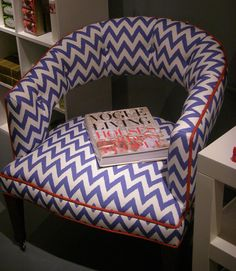 The contrasting welt is pretty cute on this lil chevron chair! Chinoiserie Chic, Fabric Panels, Living Room Chairs, Living Area, Upholstered Chairs, Dream Decor, Ikat, Green Fabric, Diy Furniture