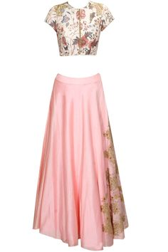 Off white and pink sequins embroidered crop to and skirt set available only at Pernia's Pop Up Shop.