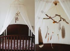 Mobiles and dream-catchers are essential for your little one& tribal inspired nursery, and they& so easy to create on your own! Feathers, string, and natural elements like branches are all you need for a DIY. Tribal Nursery, Boho Nursery, Nursery Neutral, Nursery Room, Girl Nursery, Woodland Nursery, Girl Room, Tribal Room, Nature Themed Nursery