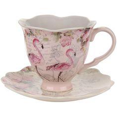 I want this! Aviary Flamingo Teacup & Saucer