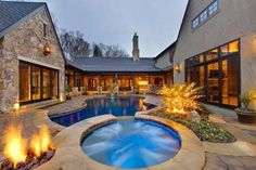 u shaped house plans with pool in middle - Google Search
