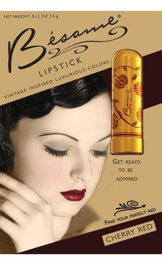 Besame cosmetics are hand crafted reproductions of classic vintage luxury makeup, designed to make a woman feel elegant, inspired, and empowered by their beauty. Cherry Red lipstick is a deep rich dar