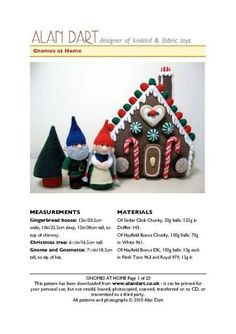 Toys to Knit - Gnomes at Home Alan Dart, Christmas Ornaments, Xmas, Christmas Things, Quick Crafts, Fabric Toys, Knitting For Kids, Knitted Dolls, Christmas Knitting